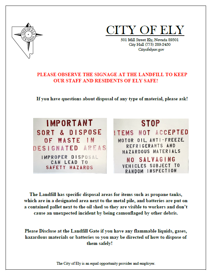 City of Ely Landfill Safety